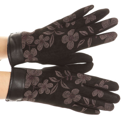 group-17101-black (Sakkas Liya Classic Warm Driving Touch Screen Capable Stretch Gloves Fleece Lined)