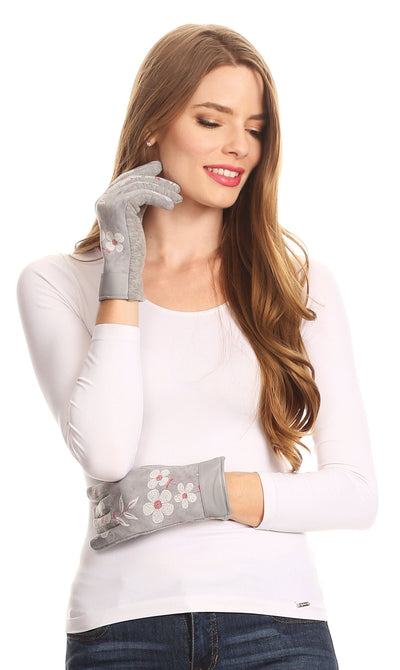 group-17101-light/gray (Sakkas Liya Classic Warm Driving Touch Screen Capable Stretch Gloves Fleece Lined)