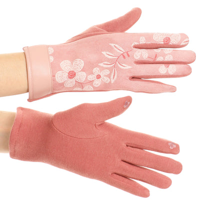 group-17101-rose (Sakkas Liya Classic Warm Driving Touch Screen Capable Stretch Gloves Fleece Lined)