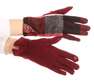 group-17102-burgundy (Sakkas Liya Classic Warm Driving Touch Screen Capable Stretch Gloves Fleece Lined)