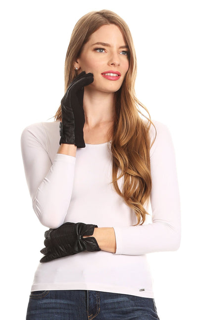 group-17103-black (Sakkas Liya Classic Warm Driving Touch Screen Capable Stretch Gloves Fleece Lined)
