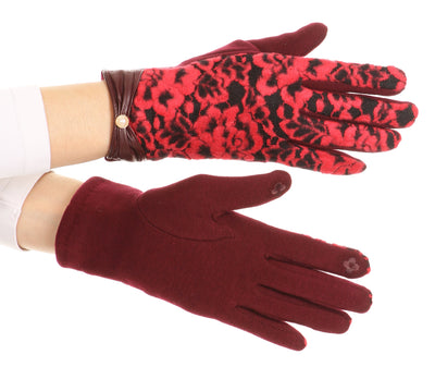 group-1799-burgundy (Sakkas Liya Classic Warm Driving Touch Screen Capable Stretch Gloves Fleece Lined)