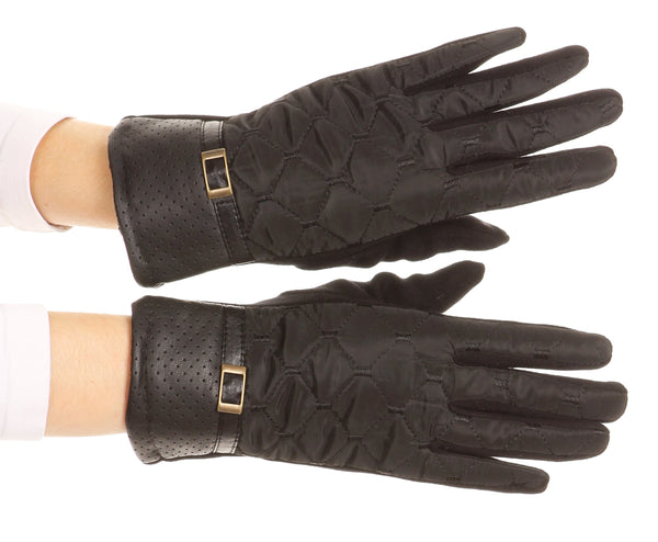 Sakkas Emie Quilted and Lace Super Soft Warm Driving Gloves Touch Screen Capable#color_17104-black