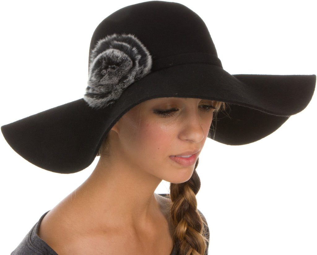 Sakkas Womens 100% Wool Wide Brim Foldable Floppy Hat with Faux Fur Accent