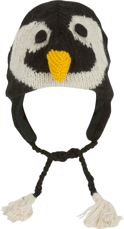 Unisex Adorable Animal Face Fully Lined Knit Winter Hats / Earflap Beanie - Penguin