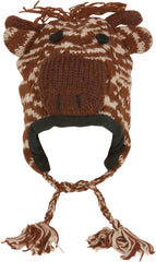 Unisex Adorable Animal Face Fully Lined Knit Winter Hats / Earflap Beanie - Giraffe