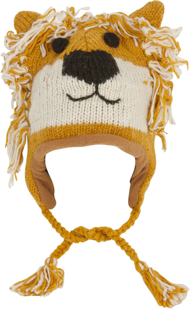 Unisex Adorable Animal Face Fully Lined Knit Winter Hats / Earflap Beanie - Lioness