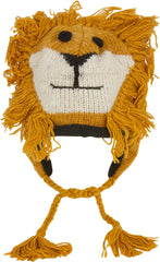 Unisex Adorable Animal Face Fully Lined Knit Winter Hats / Earflap Beanie - Lion