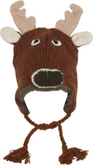 Unisex Adorable Animal Face Fully Lined Knit Winter Hats / Earflap Beanie - Reindeer
