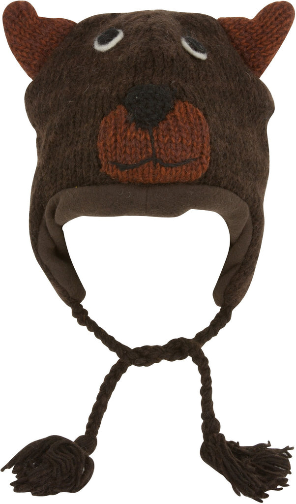 Sakkas Unisex Adorable Animal Face Knit Hats / Earflap Beanie - Brown Bear