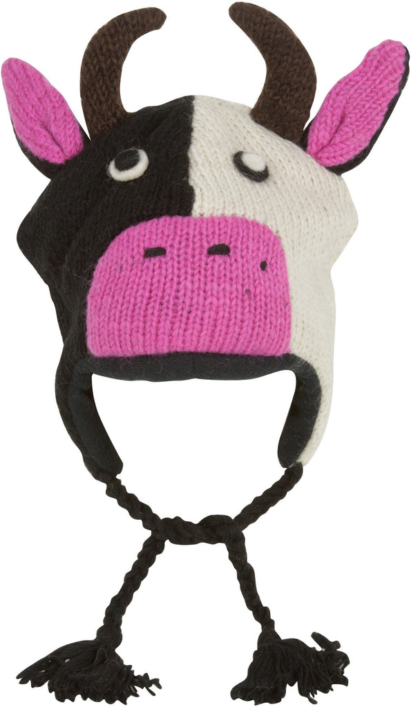 Unisex Adorable Animal Face Fully Lined Knit Winter Hats / Earflap Beanie - Cow