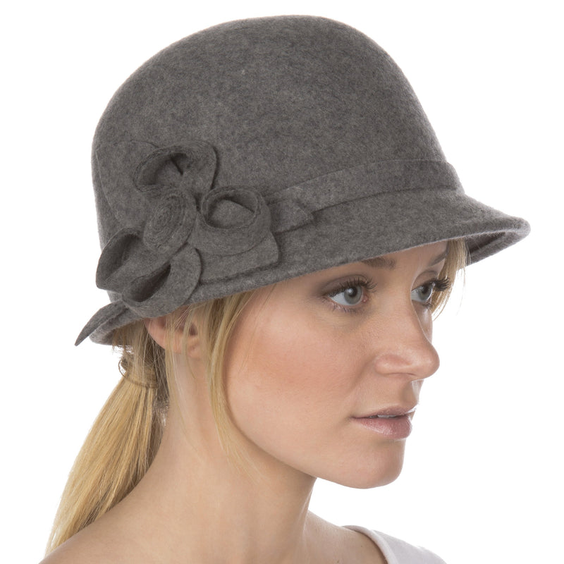 Womens Bernadette Vintage Style 100% Wool Cloche Bucket Winter Hat with Flower Accent