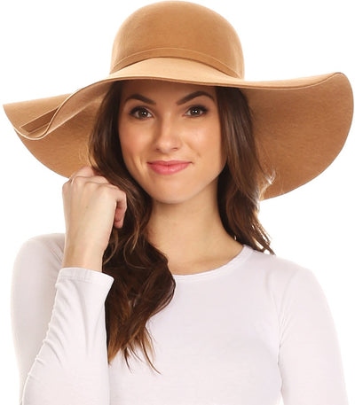 group-Beige (Sakkas Womens 100% Wool Wide Brim Foldable Floppy Hat)