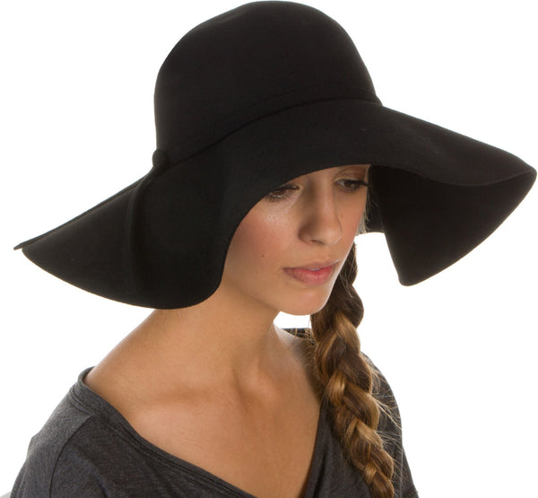 Sakkas Womens 100% Wool Wide Brim Foldable Floppy Hat#color_Black
