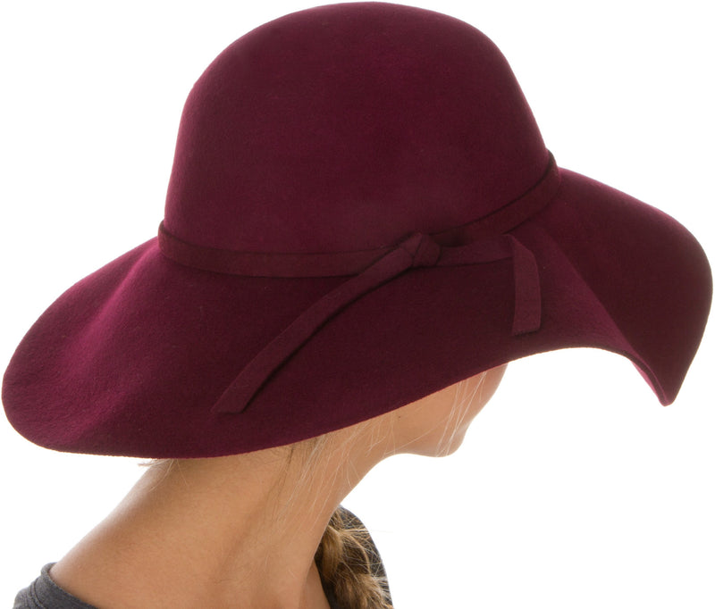 Sakkas Womens 100% Wool Wide Brim Foldable Floppy Hat