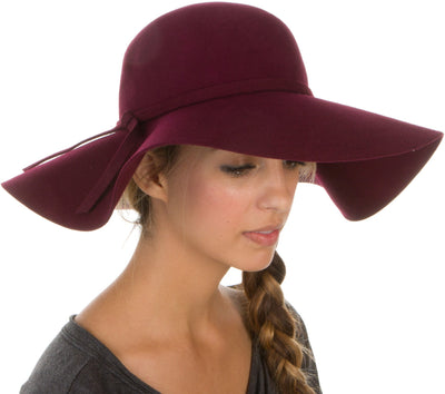 group-Burgundy (Sakkas Womens 100% Wool Wide Brim Foldable Floppy Hat)