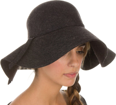 group-Charcoal (Sakkas Womens 100% Wool Wide Brim Foldable Floppy Hat)