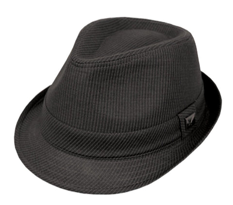 Mens Structured Wool Blend with lining Black Band Fedora Hat