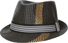 Sakkas Structured Multi Stripe Paper Straw Fedora