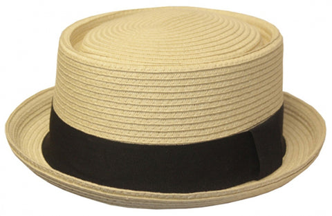 Mens Structured 100% Paper Straw Flat Top Pork Pie Fedora Hat