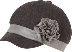 Sakkas Womens Newsboy / Cabbie Winter Hat / Cap with Faux Leather Flower Accent