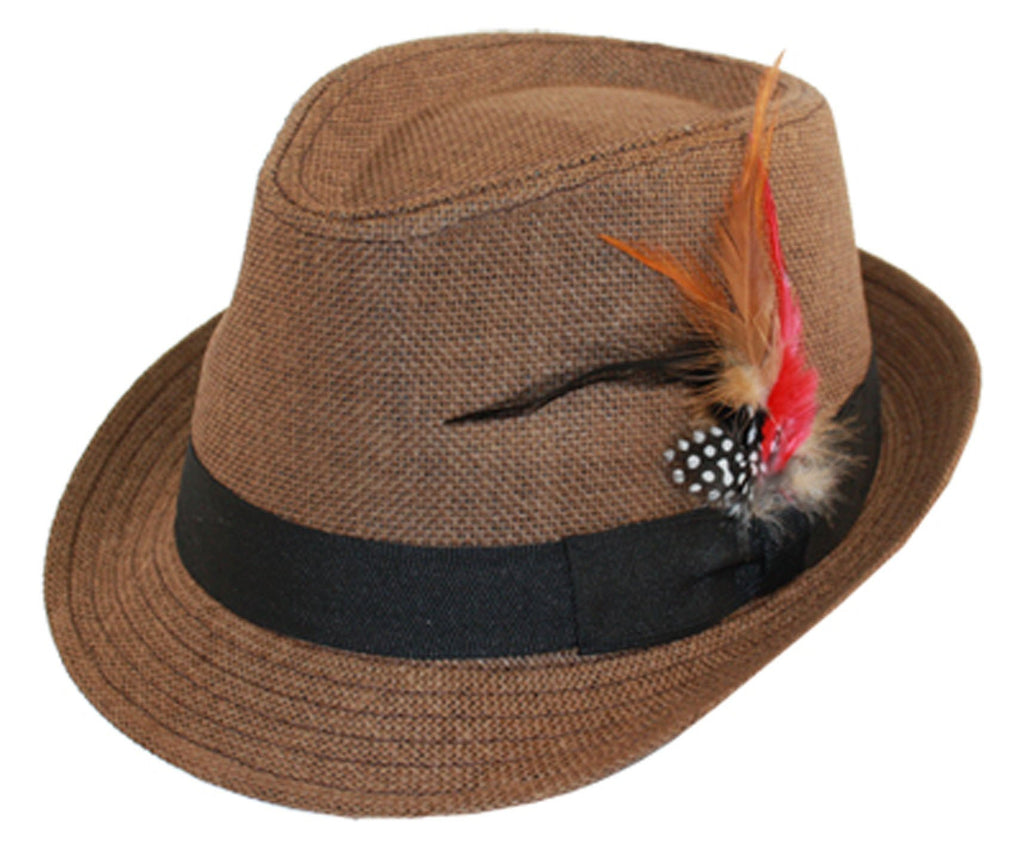 Unisex Structured 100% Paper Straw Black Feather Band Fedora Hat