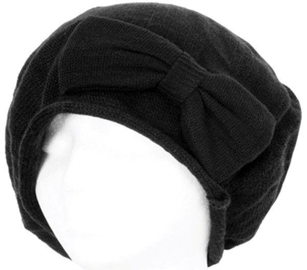 Bow Accented Light Knit Fashion Beret / Slouch Hat Choose from 4 Colors