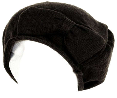 Bow Accented Light Knit Fashion Beret / Slouch Hat (Choose from 4 Colors)