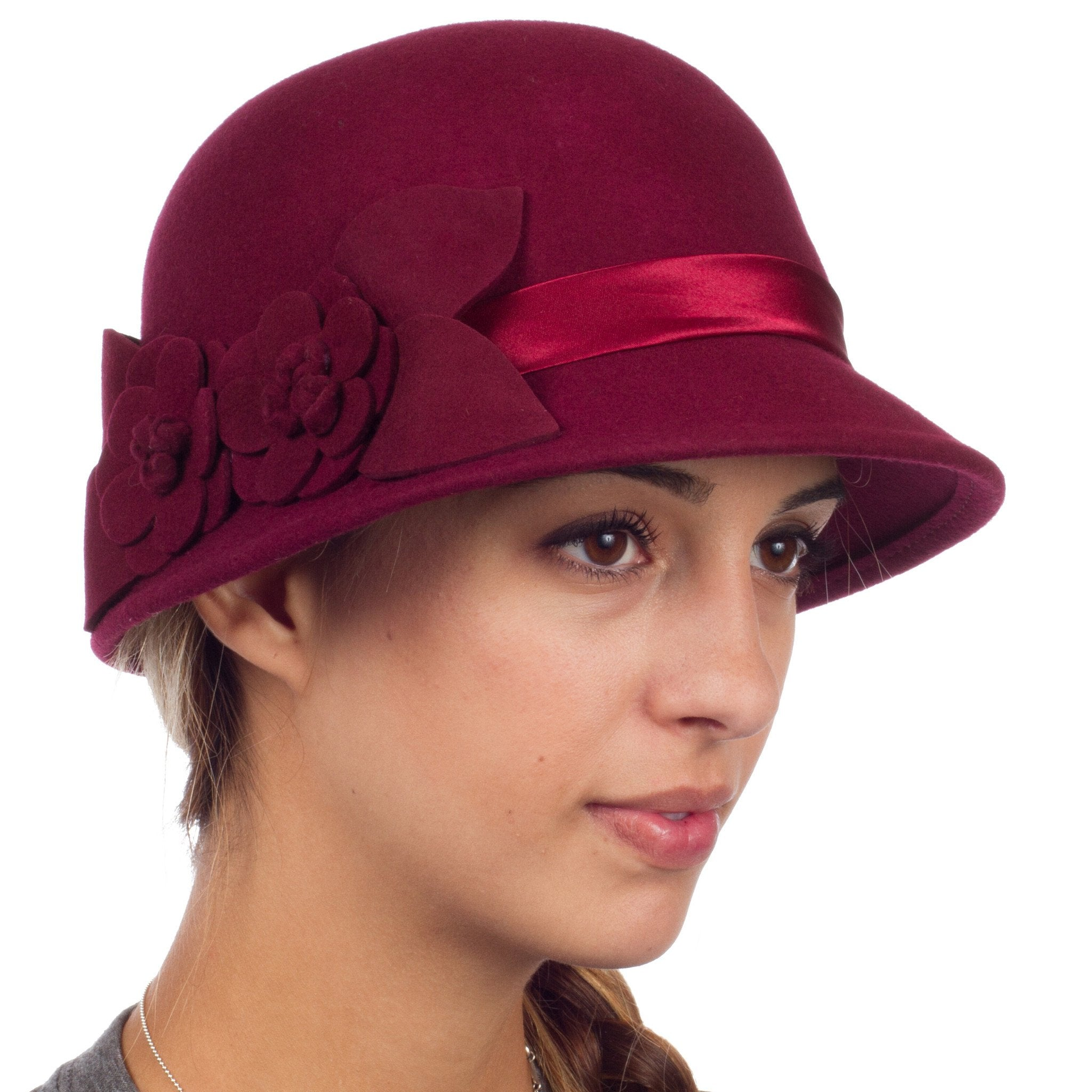 8b1d5143737 Sakkas Vivian Vintage Style 100% Wool Cloche Bell Hat with Flower Accent