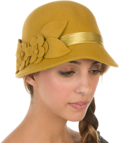 Sakkas Vivian Vintage Style 100% Wool Cloche Bell Hat with Flower Accent
