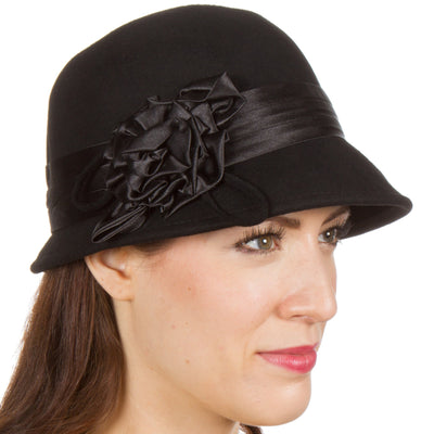 Sakkas Marilyn Vintage Style Wool Cloche Bucket Winter Hat with Satin Flower