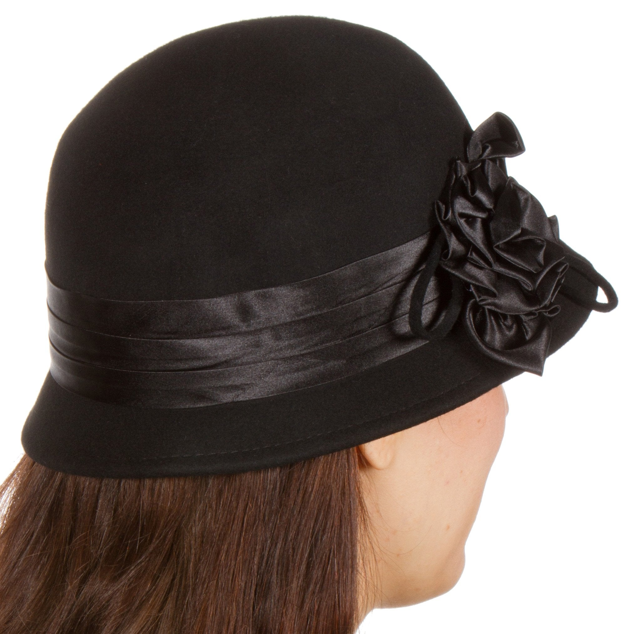 a368f9e5b38 Sakkas Marilyn Vintage Style Wool Cloche Bucket Winter Hat with Satin Flower