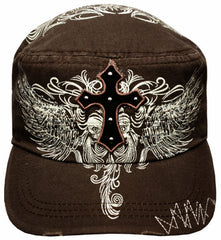 Unisex 100% Cotton Cross and Rhinestone Wings Accent Army Military Cadet Hat / Cap