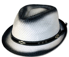 Unisex Structured Ombre 100% Paper Straw Black Band Fedora Hat