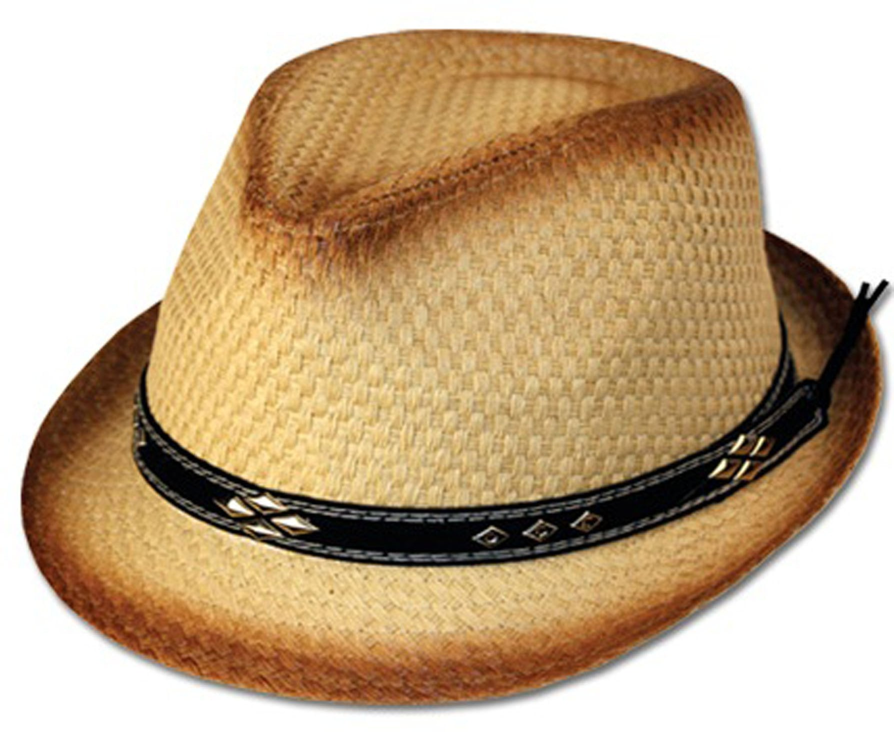 632393f64a649 Unisex Structured Ombre 100% Paper Straw Black Band Fedora Hat - Sakkas  Store