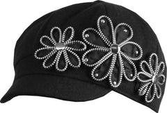 Womens Wool Blend Newsboy / Cabbie Winter Hat / Cap with Zipper Flowers Accent