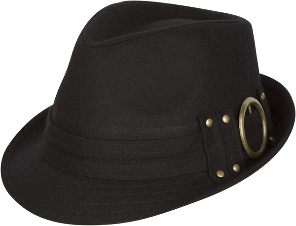 Sakkas Sammy Structured Wool Fedora Hat#color_black