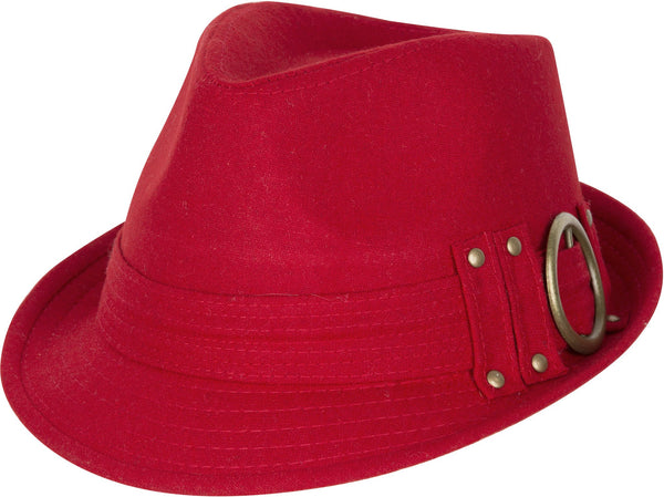 Sakkas Sammy Structured Wool Fedora Hat#color_red