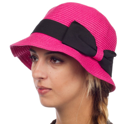 Womens 100% Paper Straw Ribbon Bow Accent Cloche Bucket Bell Summer Hat