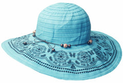 Sakkas Women's Dot Floral Ribbon UPF 50+ Sun Hat