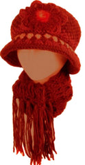 Sakkas Womens 2-piece Knitted Bucket Scarf and Hat Set / Faux Fur Flower Accent