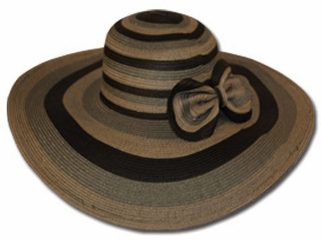 Womens UPF 50+ 100% Paper Straw 3-Tone Stripes Bow Accent Wide Brim Floppy Hat