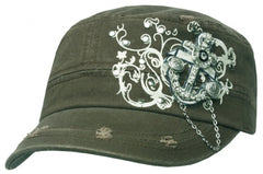 Unisex 100% Cotton Rhinestone Anchor Accent Army Military Cadet Hat / Cap