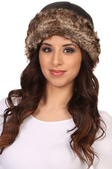Sakkas Sparrow Unisex Lined Insulated Faux Fur Hat Cap Folded Brim