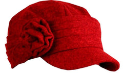 Womens Wool Cadet / Military Winter Hat / Cap with Flower Leaves Accent