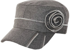 Womens Wool Blend Zippered Flower Accent Army Military Cadet Hat / Cap