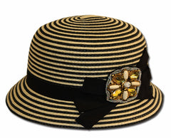Womens Two-Tone 100% Paper Straw Beaded Brooch Accent Cloche Bucket Bell Summer Hat