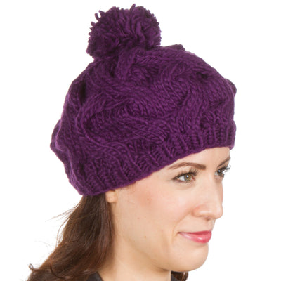 Sakkas Cable Knit Pom Pom Thick Slouch Hat