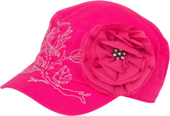 Sakkas Women's Metallic Embroidered Floral Rose Cadet Cap