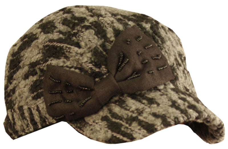 Sakkas Variegated Bow Wool Blend Cadet Cap